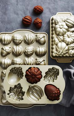 Nordic Ware Fall Cakelet Pan   Add an autumnal finish to an everyday meal or a special celebration.