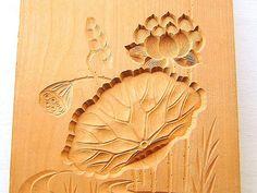 Vintage Japanese Kashigata Sweets Mold Lotus Flower Leaf