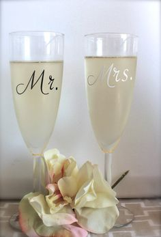 Wedding, anniversary. Set of Mr. and Mrs. Champagne Glasses by SEVENTHandJ, $18.00