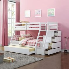 Acme Furniture Jason White Twin-over-full Bunk Bed with Storage Ladder and Trundle | Overstock.com Shopping - The Best Deals on Kids' Beds