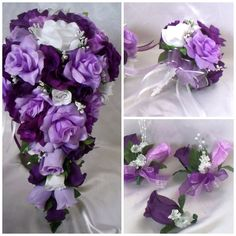 You will find that each bridal bouquet is made with a generous amount of flowers to create a full and beautiful bouquet. The back of the bouquet has a 6 loop tulle bow with an white 6 loop satin bow. Silk Bridal Bouquet, Purple Wedding Bouquets, Bride Bouquets, Flower Bouquet Wedding, Rose Bouquet, Flower Bouquets, Wedding Corsages, Bridal Flowers, Bridal Gowns