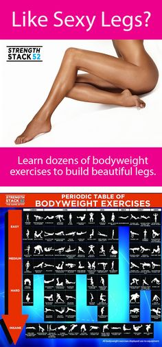 Learn the bodyweight exercises that sculpt beautiful, sexy legs.  They're organized by difficulty.  Click on any silhouette for a demonstration video.
