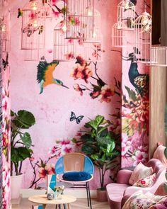 Trendy home wallpaper design spaces ideas Decoration Inspiration, Interior Inspiration, Flower Carpet, Navy Living Rooms, Interior Design Programs, French Style Homes, Home Wallpaper, Pink Wallpaper For Walls, Cafe Design