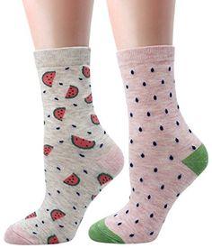 LITTONE Women's Cozy Cotton Cartoon Crew Novelty Socks 2 Pairs Novelty Socks, Cotton Socks, Sport, Cozy, Pairs, Cartoon, Casual, Stuff To Buy, Fashion