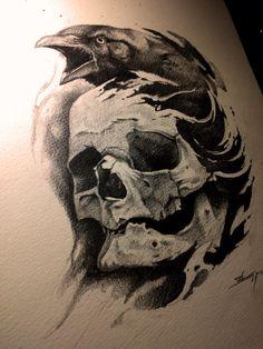 Crow and skull by AndreySkull on @DeviantArt