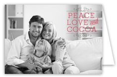 Polka Dot Design Digital Peace, Love & Cocoa Folded Photo Card