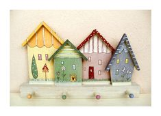 For Aislin's room?? Handpainted wooden Shelf  House Front   Keyhook by byAnnoDomini, $39.00