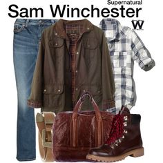 Inspired by Jared Padalecki as Sam Winchester on Supernatural. Supernatural Sam Winchester, Supernatural Fandom, Supernatural Outfits, Geek Chic Fashion, Casual School Outfits, Character Inspired Outfits, Fandom Outfits, Themed Outfits, Silver Jeans