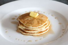 Dairy & egg free pancakes- I use orange marmalade rather than oj & a good bit of vanilla. Left out the vegan butter. So fresh & yummy!