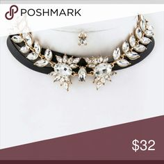 """Crystal flower wrapped choker necklace Shop KJJEWELRY.COM & use code: """"FREESHIP"""" & receive free shipping on orders $65 or more... OR use code """"15OFF"""" & receive 15% off when you spend over $100 KJ JEWELRY  Jewelry Necklaces"""