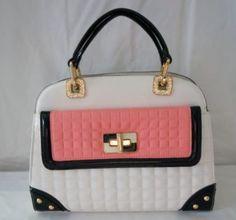 Argaman White-Pink  & Black PU Leather Very Delicate Satchel Cross Body…