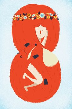 Foxy Lady Art Print  Fox, vixen, foxy, lady, girl, nature, flowers, cute, adorable, love sleep, sleepy, illustration,
