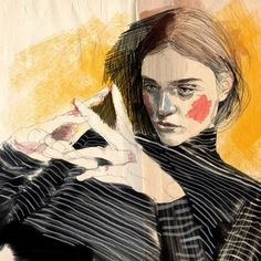 Fashion Illustration Speed Painting with Ink - Drawing On Demand Sketchbook Inspiration, Art Sketchbook, Pretty Art, Grafik Design, Portrait Art, Traditional Art, Art Inspo, Painting & Drawing, Art Reference
