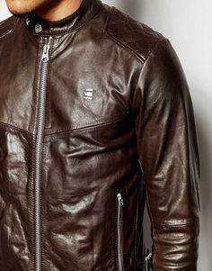 Image 3 ofG-Star Leather Jacket Edla Biker Zip Front
