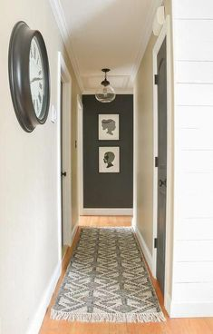 How to add style to a small hallway. A small narrow hallway gets a sleek modern makeover with lots of contrast and texture. How to add style to a small hallway. A narrow hallway gets a sleek modern makeover with lots of contrast and texture. Hallway Paint Colors, Hallway Wall Decor, Hallway Lighting, Hallway Walls, Hallway Ideas, Hallway Decorations, Hallway Runner, Entryway Ideas, Hall Way Decor