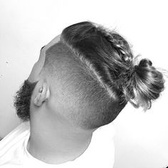 Curly Hairs styled with Braid & Man Bun