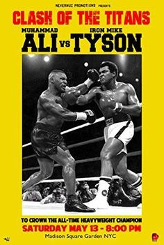 Shop for ''Muhammad Ali vs. Mike Tyson'' by Anon Sports/Games Art Print x 12 in. Get free delivery On EVERYTHING* Overstock - Your Online Art Gallery Store! Mohamed Ali, Kickboxing, Muay Thai, Jiu Jitsu, Mike Tyson Fights, Boxe Fight, Boxing Posters, Sports Posters, Movie Posters