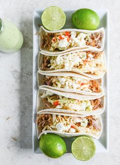 Slow Cooker Pulled Pork Tacos with Sweet Chili Slaw   howsweeteats.com