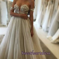 Gorgeous off-shoulder ivory lace tulle long prom dres, ball gown, prom dress 2016 #coniefox #2016prom