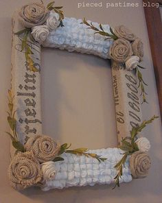 Puckered fabric and burlap frame