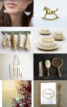 a gorgeous gold and white collection on etsy.com