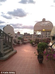 On the rooftop terrace at Hotel Raquel, a beautiful gazebo provides shade for the sunloungers.
