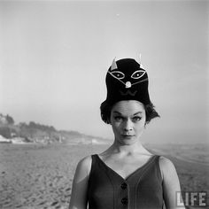 Bathing Caps with faces photographed by Ralph Crane