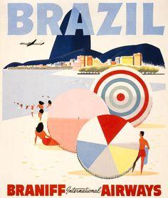 Brazil travel poster, Braniff Airways