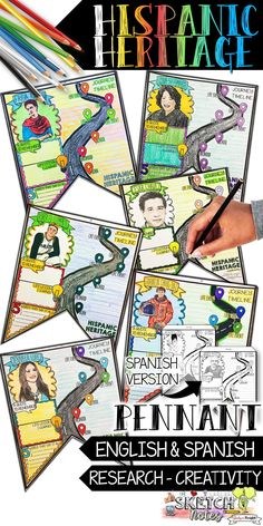 Hispanic Heritage Month, Biography Research, Pennant, in English and Spanish Middle School Spanish, Middle School Writing, High School English, Elementary Spanish, Spanish Teacher, Spanish Classroom, Teaching Spanish, Bilingual Classroom, Classroom Ideas