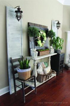 Traditional Rustic Living Room with DIY Barn Door Decor and Shutters