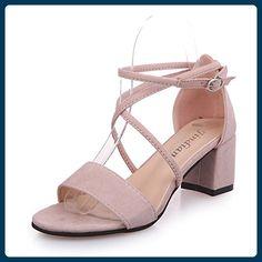 Sommer - Mode Elegante Schuhe Mit Hohen Absätzen Cross - Peep - Toe - Pumps Sind Fisch Mund Schuhe,Eu36Cn37,Apricot,Sandalen Für Damen - Sportschuhe für frauen (*Partner-Link)