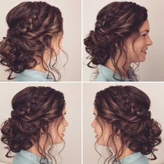 halflang haar opsteken - Lange Haare to light up medium hair, # half-length # light up, Quince Hairstyles, Bride Hairstyles, Updos Hairstyle, Hairstyle Ideas, Prom Hair Updo, Wedding Hairstyles For Curly Hair, Bridesmaid Hair Curly, Up Hairdos, Hairstyles 2016