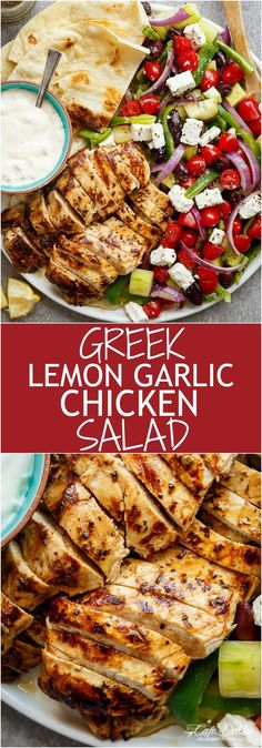 Greek Lemon Garlic Chicken Salad with an incredible dressing that doubles as a marinade! Complete with Tzatziki and homemade flatbreads, it\'s a winner! | http://cafedelites.com