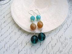 Color block earrings Blue Zircon earrings by HappyTearsbyMicah, $14.00