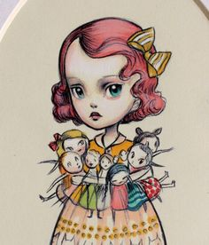 Reserved for Marie - The Collector - signed original illustration by Mab Graves