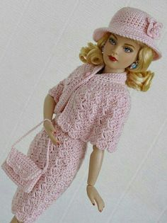 For Tonner Tiny Kitty Collier OOAK Fashion. Outfit is handmade by my own design. I always send clothes with priority letter. Back is buttoned to a metal snaps. Barbie Clothes Patterns, Crochet Barbie Clothes, Knitted Dolls, Crochet Dolls, Doll Costume, Vintage Barbie Dolls, Clothes Crafts, Barbie Dress, Crochet Fashion