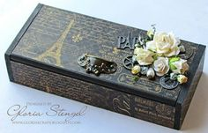 Altered cigar box... don't like the flowers, but like the black paris theme