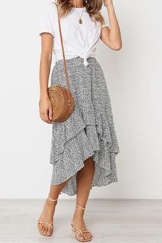 Longer hemline perfect for the classroom on those warm days. #spring #teacherfashion Be in Love Ruffle Skirtsummer fashion, summer outfit, summer outfit ideas, skirt, maxi skirt, high low skirt, sandals, casual style, date outfits, day outfits for summer, casual outfits for summer, outfits with skirts.