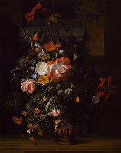 Розы, вьюнки, маки и другие цветы в вазе масло, холст ок.1680 Рашель Рюйш (1664-1759) Roses, Convolvulus, Poppies, and Other Flowers in an Urn on a Stone Ledge Rachel Ruysch