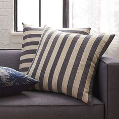 """The Hill-Side grey and navy stripes 23"""" pillow"""