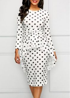 Pre-Sale Opportunity on New Arrivals for Women's Fashion / White Double-Layered Polka Dots Women's Bodycon Dress Trendy Clothes For Women, Trendy Dresses, Women's Fashion Dresses, Casual Dresses, Trendy Outfits, Fitted Dresses, Moda Online, Plus Size Outfits, Dresses With Sleeves