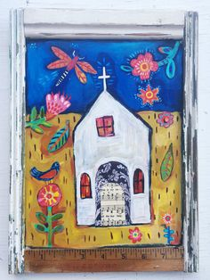 Hey, I found this really awesome Etsy listing at https://www.etsy.com/listing/475999072/framed-folk-art-church-painting