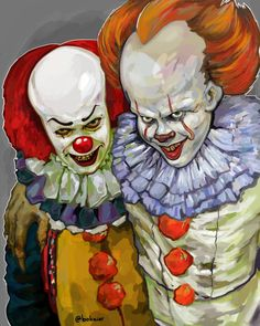 1990 Tim Curry as Pennywise And Bill skarsgard as 2017 2019 Pennywise Arte Horror, Horror Art, Horror Pics, Creepy Horror, Dark Beauty, Scary Movies, Horror Movies, Horror Fiction, Le Clown