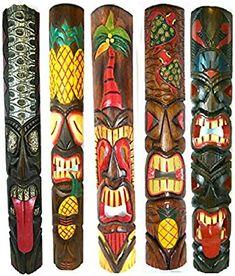 Set of 5 Polynesian Hawaiian Tiki Bar Style Wall Masks Island Art ** Check out the image by visiting the link. (This is an affiliate link) Hawaiian Tribal, Hawaiian Tiki, Tiki Statues, Tropical Wall Decor, Tiki Bar Decor, Pole Art, Tiki Mask, Tiki Room, Outdoor Art