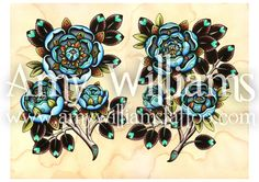 Blue Roses Tattoo Art A3 Print by amybird on Etsy