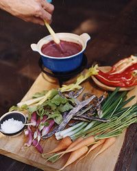 Red Wine Bagna Cauda with Crudit- anchovy and olive oil dip enriched with red wine served warm, also great as a sauce for grilled meat