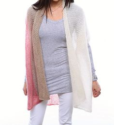 This easy jacket knit with just 3 balls of Be Sweet Medium Brushed is a wonderful addition to any outfit. Very simple to knit, a few seams transform the piece into a very wearable jacket. Work it in one of the suggested color combinations, or choose your own colors to make it your own!