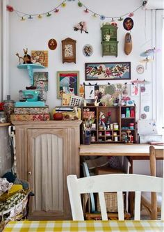 Thinking of setting up a craft corner at home? Lise Meunier reveals how vintage knick knacks triggers creative thought cute quirky colourful kitsch craft sewing or art room enough to inspire the tiredest of creative minds
