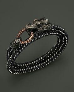 Designer watches for men internet John Hardy Mens Naga Double Wrap Dragon Cord Bracelet Bijoux Design, Schmuck Design, Jewelry Design, Men Accesories, Jewelry Accessories, Fashion Accessories, Fashion Jewelry, Cord Bracelets, Bracelets For Men