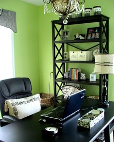 I Love The Lime Green Walls And Black Furniture Maybe Not For A Main Room But Little Office